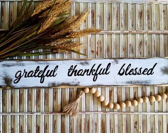 Grateful thankful blessed sign, distressed wood sign, fall decor, fall sign, thanksgiving decor, rustic wall decor, farmhouse style