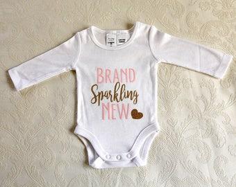 Newborn Onesie, Baby Gift, Long sleeve onesie, Pink and Gold, Size 000 0-3 months.