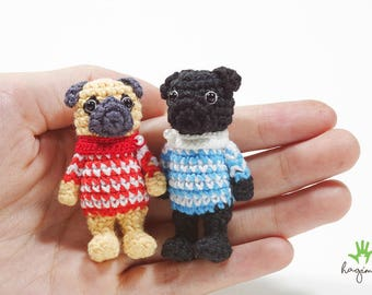 Mini pug, crochet pug, Amigurumi dog, Miniature Crochet Animals