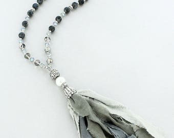 Snowflake Obsidian and Faceted Bead Necklace with Fabric Tassel Pendant