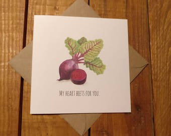 Vegan/vegetarian inspired greetings card  watercolour design greetings card for any occasions
