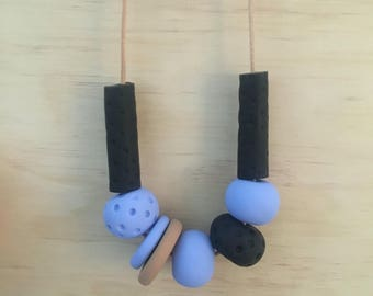 Sky blue, black and tan  - polymer clay necklace handmade