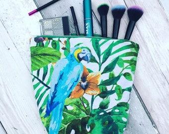 Parrot makeup bag, parrot wash bag, parrot fabric, bird fabric, Floral wash bag, floral make up bag, make up, sanitary bag