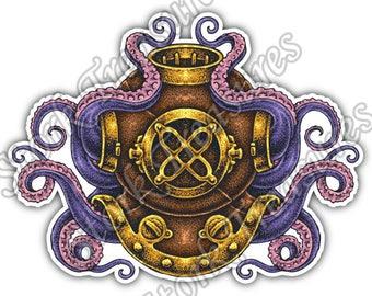 Diver Iron Helmet Octopus Diving Deep Sea Car Bumper Vinyl Sticker Decal