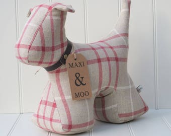 Dog Doorstop made in beautiful designer fabric with a leather collar.