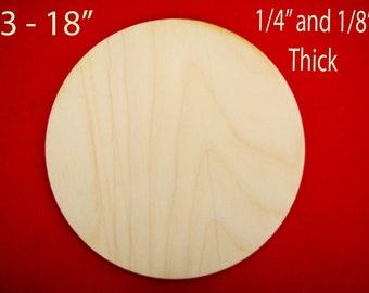 """Wood Circle cutout up to 18"""", wooden disk cutout small medium large, blank circle shape, laser cut round, DIY blank coaster"""