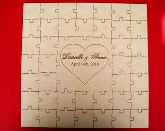 Guest book puzzle, wedding guest book puzzle, wooden, guest book alternative, puzzle guest book, jigsaw guest book