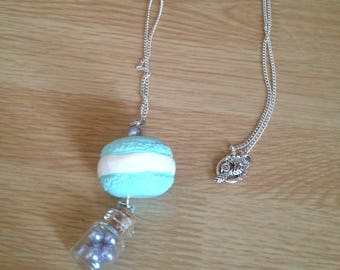 Blue macaroon with Pearly Blue Pearl vial necklace.