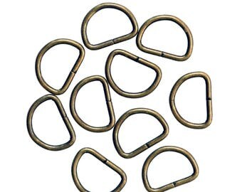 10 half rings D-rings alloy 12 mm, free choice of color (Variant: antique brass)