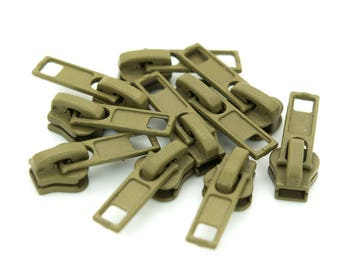 10 Zipper for Profile zippers, 5 mm, Free color choice (colour: olive green)