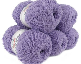 5 x 100 g soft Knitting yarn MARION with shimmering highlights, #109 violet