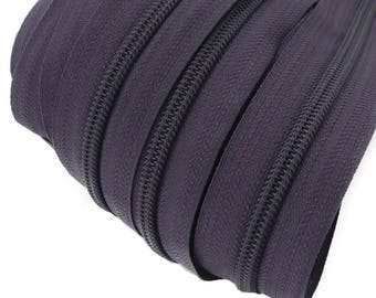6m of endless zipper 5mm with 15 zippers and tails 196 purple