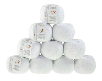 10 x 50 g Knitting yarn cotton Bay #02 white