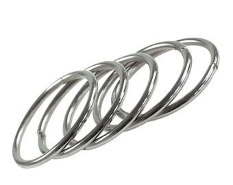 5 Metal Rings Ø 60 mm for tinkering dream catcher mobiles and more, silver