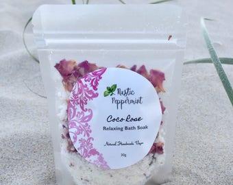 Relaxing Bath Soak, Coconut and Rose, soothing bath soak, bath salts, Chillax