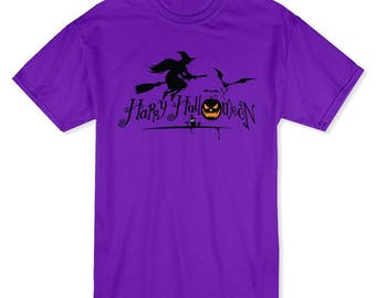 Happy Halloween Flying Witch Classic Men's Purple T-shirt