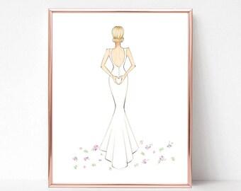 Bridal love, bridal illustration, bride sketch, gift, fashion illustration print, art print, sketch, croquis,