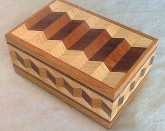 Beautiful box made from Walnut, Maple, Cherry Hard Wood