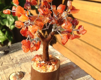 15%Off-Code EOFYSALE15 -Small Fairy Tree of Life - A Grade Carnelian Chips - 12cm high - with wood wrapped base