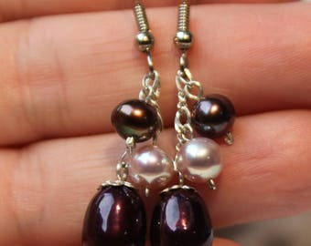 Multicolor Plum Pearl Earrings, Pearl Earrings, Dangle Earrings, Plum Earrings, Freshwater Pearls Earrings, SKU 1PLLSTW1QU