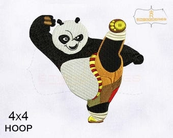Kicks Up Kung Fu Panda Machine Embroidery Design | 4x4 Hoop Embroidery Design
