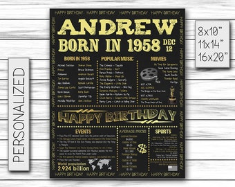 1958, Personalized Birthday Chalkboard Poster, Born in 1958, Birthday Gift, Birthday Poster, Birthday Sign, Custom Printable DIGITAL FILE