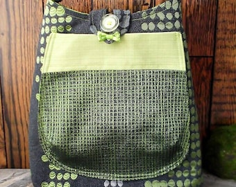 handmade purse, satchel, shoulder strap practical and chic for your walks on foot, by bike, by bus,