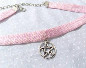 Pink Iridescent Pentagram Choker (Fairy Kei, Pastel Goth, Creepy Cute)