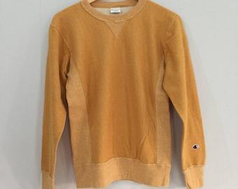 Rare!!! CHAMPION PULLOVER CREWNECK yellow Fashion Style Lolife Sweatshirt in Large Size