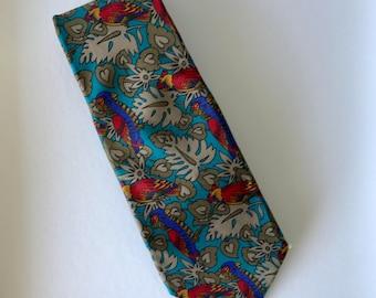 Marco Visconti Blue Green Red Tropical Birds Pure Silk Mens Neck Tie
