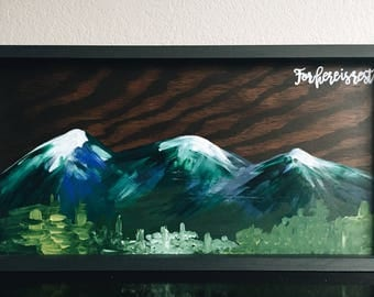 For here is rest, framed wood painting