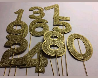 Single Digit Cake Topper Numbers on Wire
