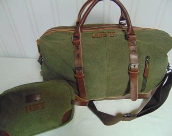Groomsmen Gifts- Traveler Duffle Bag, Weekend Bag personalized-Tan or Olive Color