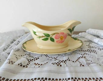 Original Desert Rose Franciscan Gravy Boat with attached underplate Made in California 1950s 1960s SHIPPING INCLUDED