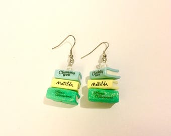 All Time Children's Classics Book Earrings | Book Stack Earrings | Charlotte's Web | Matilda | Alice in Wonderland