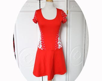 Strapless red jersey and Red polka dot, short sleeves, red and cherry skater dress with red cotton jersey fitted dress, Red