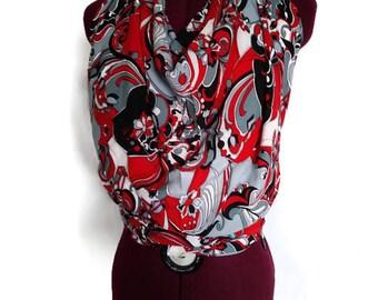 Open Back Halter - Handmade - Red Cotton - Cowl Neck Halter - Open Back - Red/Black Open Back Top - Black/Red/White Halter - Drop Waist Top