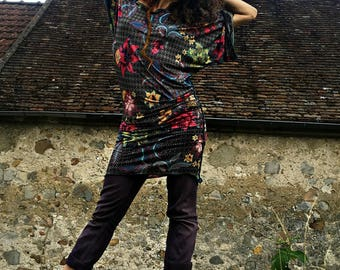 """tunic """"look moa"""" printed stretch knit"""
