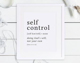 Self Control Print / Definition Print / Fruit of the Spirit / Fruits of the Spirit / Bible Verse Print / Galatians 5 / Bible Verse Art