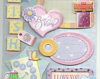 Best Wishes Glitter 3d Stickers Scrapbook Embellishments Cardmaking Crafts