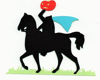 Headless Horseman Halloween Paper Piecing Premade Scrapbook Card Making Scrapbooking Pages Die Cuts
