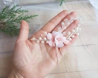 Wedding Hair Accessory Bridal Headpiece peach Bridal hair piece sakura Wedding Hair Piece pearl Headpiece Bridal Hair Vine flower hair pin