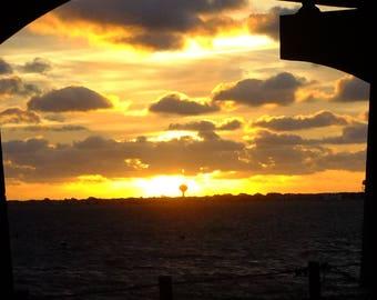 Sunrise over Long Beach Island from Barnegat Bay