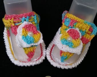 Multicolored crochet flip flop