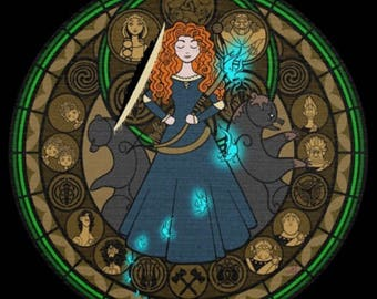 Merida brave cross stitch digital Pattern medallion stained glass kingdom hearts