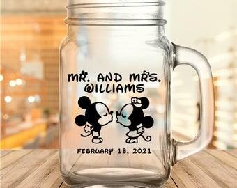 Custom Classic Disney Themed Wedding Favor Mason Jars
