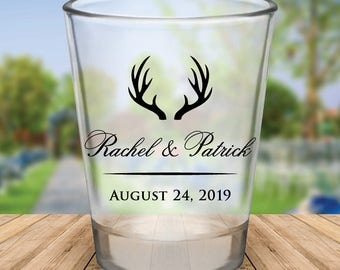 Custom Rustic Antlers Wedding Favor Shot Glasses