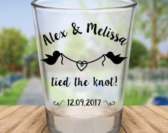 "Custom ""Tied the Knot"" Wedding Favor Shot Glasses"