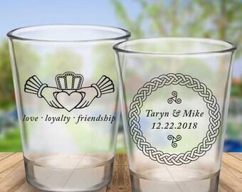 Custom Celtic Claddagh 2-Sided Wedding Favor Shot Glasses