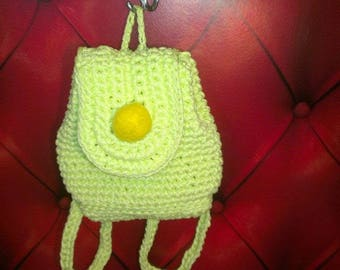 Yellow knitted backpack, crochet bag, rope bag, market bag, crhochet bag,backpack,cord backpack, Handmade bag, Wedding gift idea